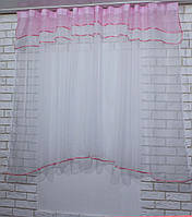 Гардина, арка на кухню, из шифона №36 Цвет розовый с белым.