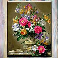 """Картины по номерам, холст на подрамнике, Цветы """"Пионы и ирисы в керамической вазе"""" 40*50 см в коробке"""