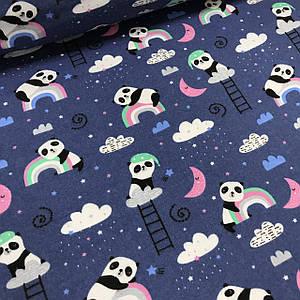 Фланель детская панды с облаками на темно-синем