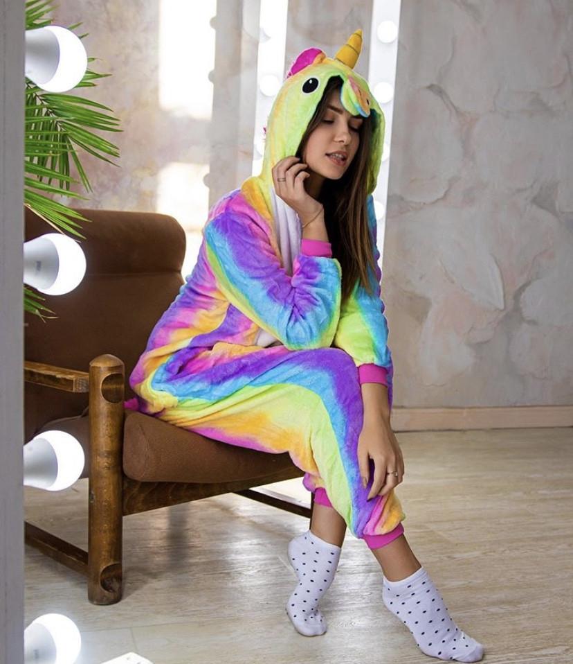 Пижама кигуруми радужный единорог для взрослых и детей kig0024