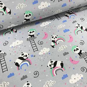 Фланель детская панды с облаками на сером