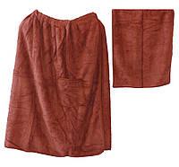 Мужской набор для сауны и бани микрофибра травка полотенце 150*70 на липучке + полотенце для лица