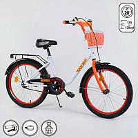 Велосипед Corso 20 дюймов 2-колёсный с ручным тормозом, корзинкой, звоночком, подножкой, собран SKL11-179279