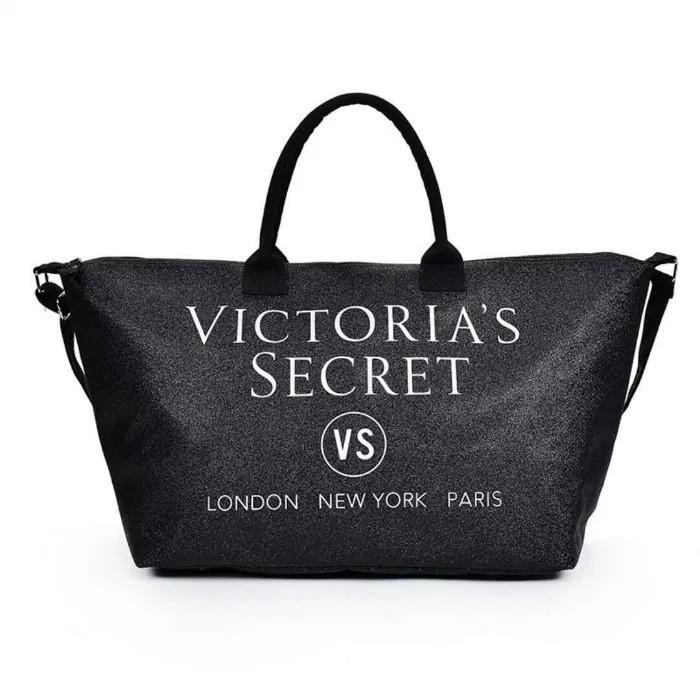 Сумка жіноча дорожня VS спортивна, пляжна в стилі Victoria's Secret (чорна)