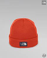 Шапка чоловіча зимова тепла якісна помаранчева The North Face, фото 1