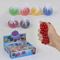 Игрушка -антистресс Мозги 6 цветов, диаметр 6см, перламутровые, цена за 12 штук в блоке - 182939