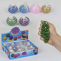 Игрушка -антистресс Мозги 6 цветов, диаметр 6см, с блёстками, цена за 12 штук в блоке - 182940