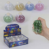 Игрушка -антистресс Мозги 6 цветов,, диаметр 6см, с блёстками, цена за 12 штук в блоке - 182942