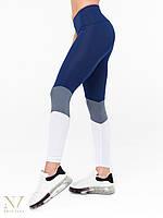 Лосины леггинсы спортивные женские Valeria синие с серым и белым