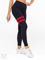 Лосины и леггинсы женские спортивные Adel черные с красным