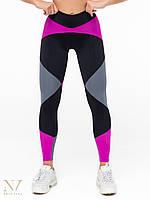 Леггинсы лосины спортивные женские Joker черные с серым и фиолетовым