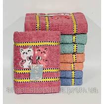 Наборы лицевых полотенец 4 штуки махра,для рук и лица размер 50*100 . Котики.