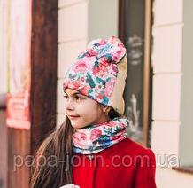 Шапка Кара с вуалью + хомут, подкладка флис, молочный, Dembo house, р. 50 54