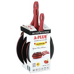 Набор сковородок A-PLUS 3 шт (подходят для индукционных плит)