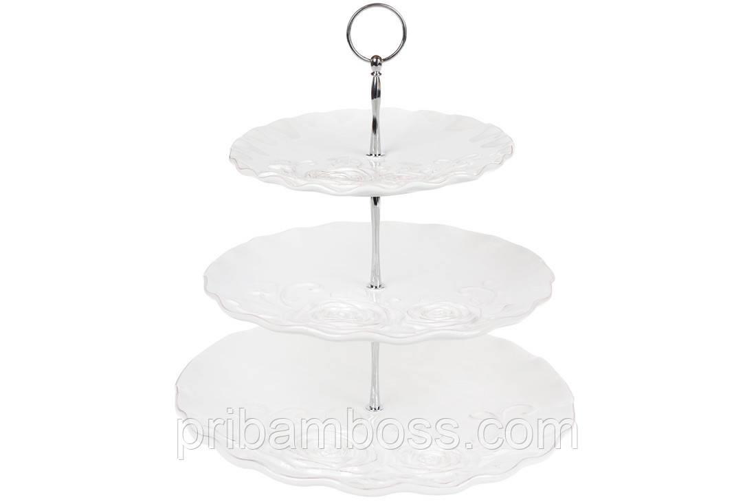 Этажерка керамическая трехъярусная Аэлита, цвет - белый, 34см
