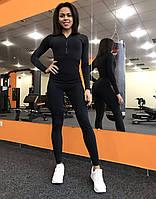Спортивный комбинезон женский для фитнеса черный Classic