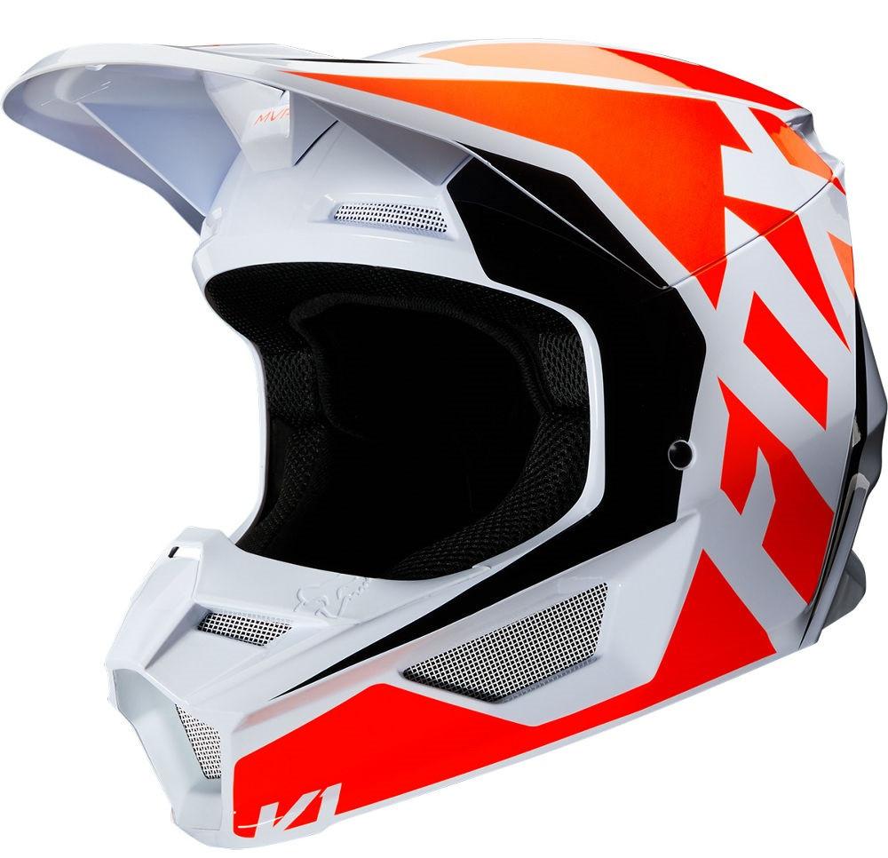 Мотошлем Fox V1 Prix оранжевый/белый, XXL