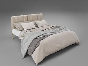 Двуспальная кровать Фуксия Tenero с мягким изголовьем металлическая