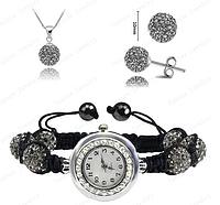 Часы с шамбала браслетом : Браслет Shamballa/Серьги/Ожерелье Комплект Ювелирных изделий (светло-серый)