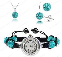 Часы с шамбала браслетом : Браслет Shamballa/Серьги/Ожерелье Комплект Ювелирных изделий (бирюзовый)