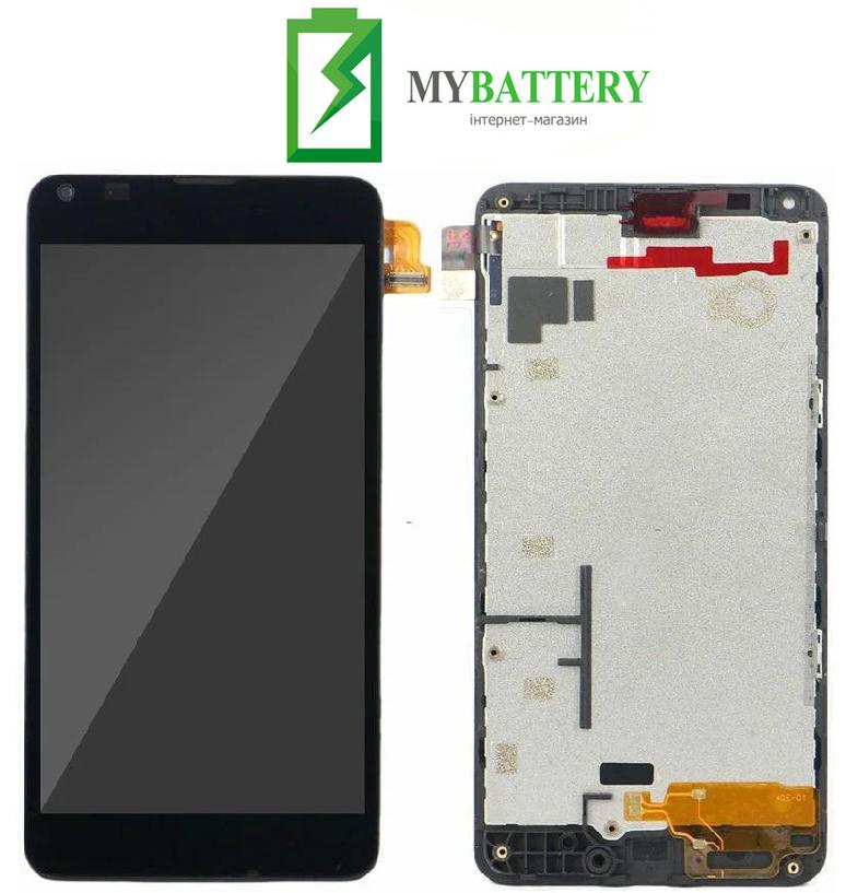 Дисплей (LCD) Microsoft 640 Lumia (RM-1077) с сенсором черный + рамка