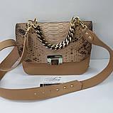 Женская бежевая сумка AGATA Gold из натуральной кожи и питона, фото 3