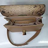 Женская бежевая сумка AGATA Gold из натуральной кожи и питона, фото 2