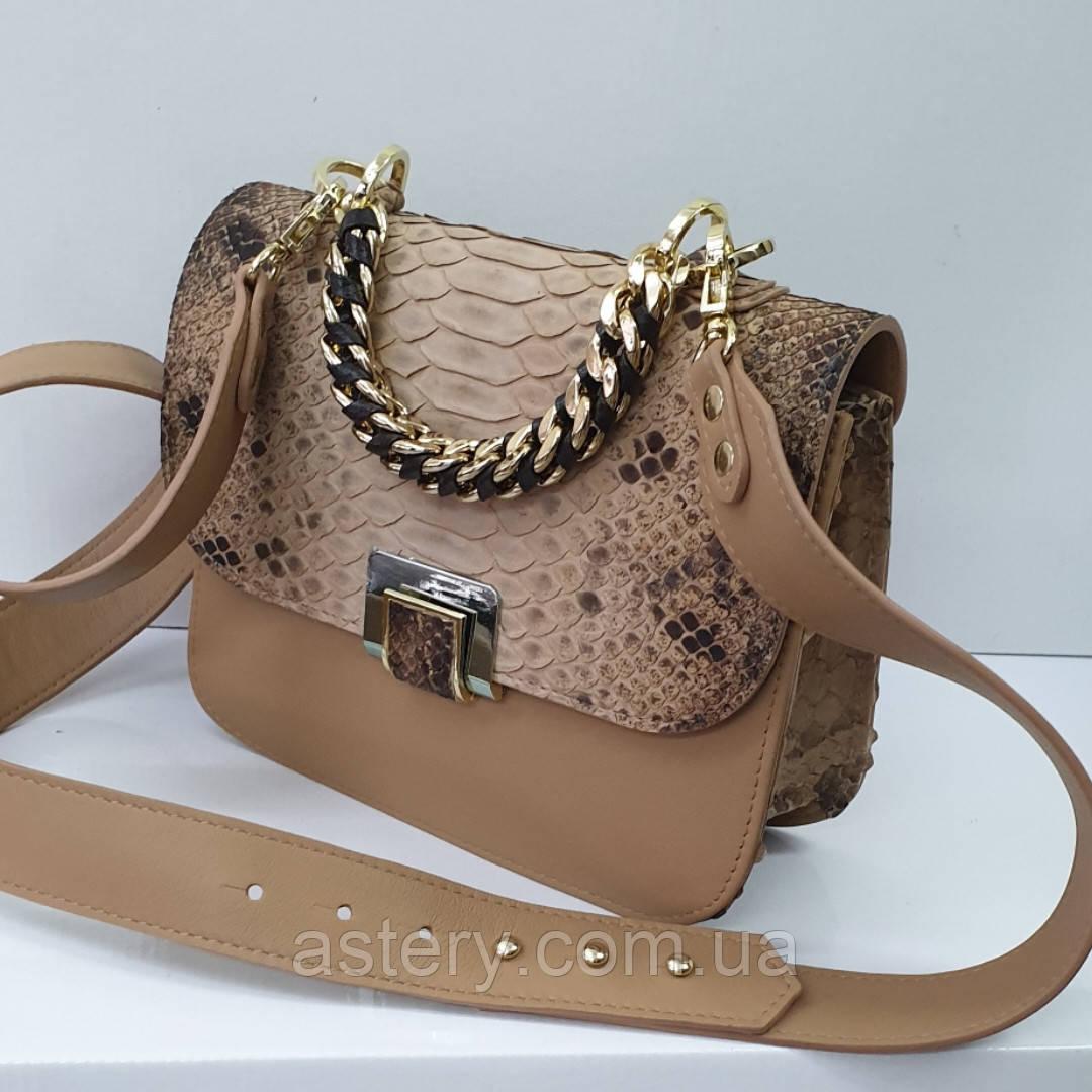 Женская бежевая сумка AGATA Gold из натуральной кожи и питона