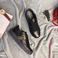 Кроссовки женские кожаные в стиле Gucci черные
