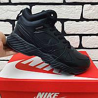 Зимние ботинки мужские в стиле Nike Air Max черные на меху