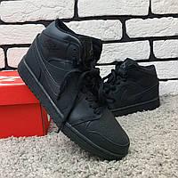 Зимние кроссовки мужские в стиле Nike Air Jordan черные (на меху)