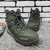 Зимние ботинки мужские в стиле Columbia с мехом Хаки