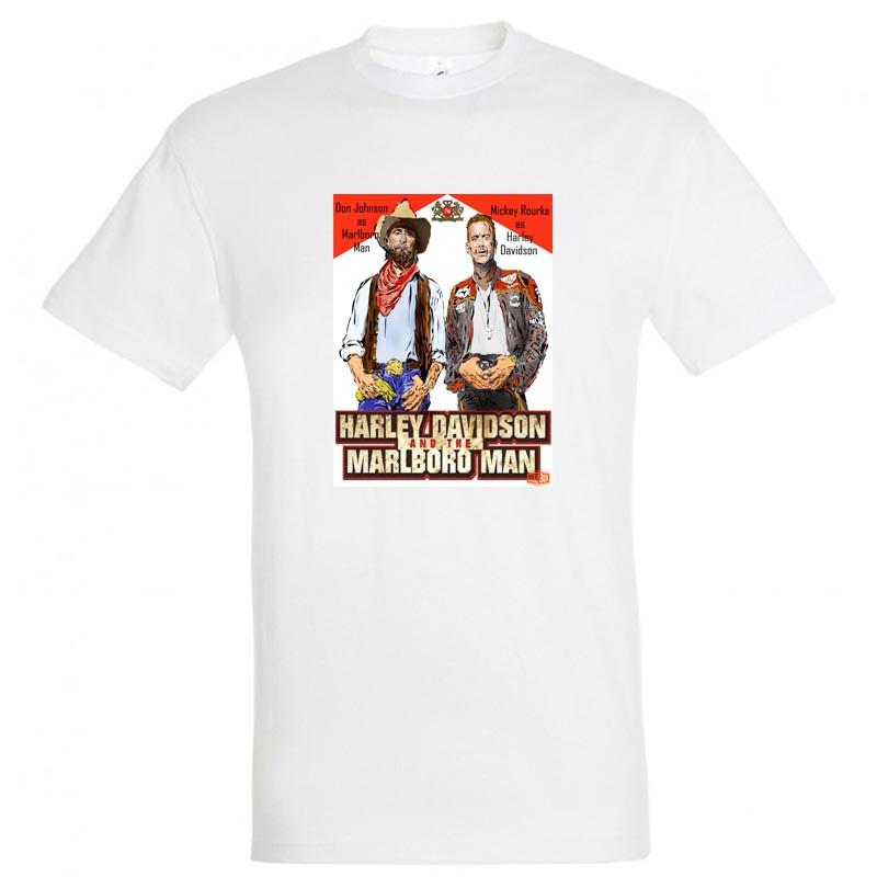 """Байкерская футболка """"Ковбой Мальборо и Харлей Девидсон"""""""
