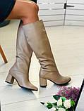 Женские зимние бежевые кожаные сапоги на каблуке, фото 4