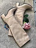Женские зимние бежевые кожаные сапоги на каблуке, фото 5