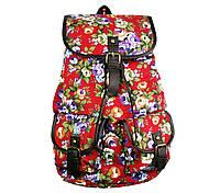 Сумка рюкзак красная Пионы