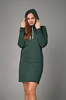 Женское платье с карманом кенгуру зеленого цвета