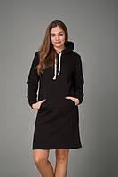 Женское платье с карманом кенгуру черного цвета