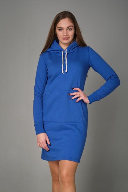 Женское платье с карманом кенгуру синего цвета