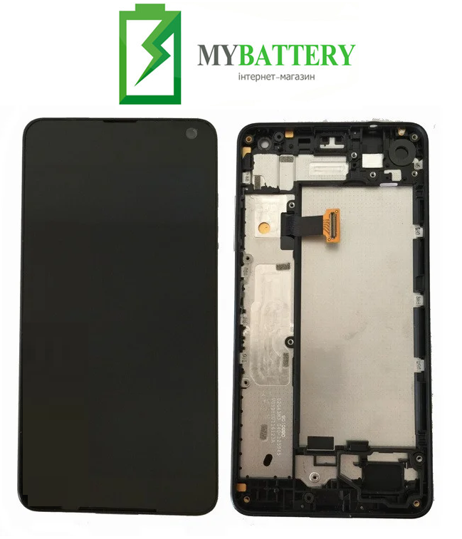 Дисплей (LCD) Microsoft 650 Lumia Dual Sim с сенсором черный + рамка оригинал