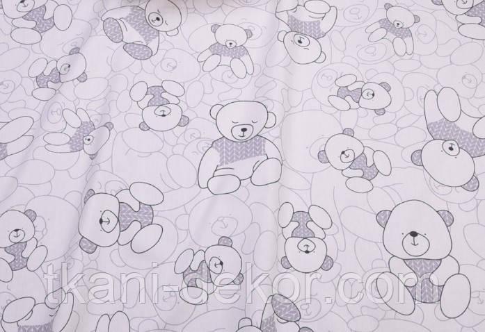 Сатин (хлопковая ткань) мишки с серой косичкой (60*160)