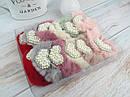 Меховые резинки для волос Ø9 см жемчужные сердечки 12 шт/уп., фото 2