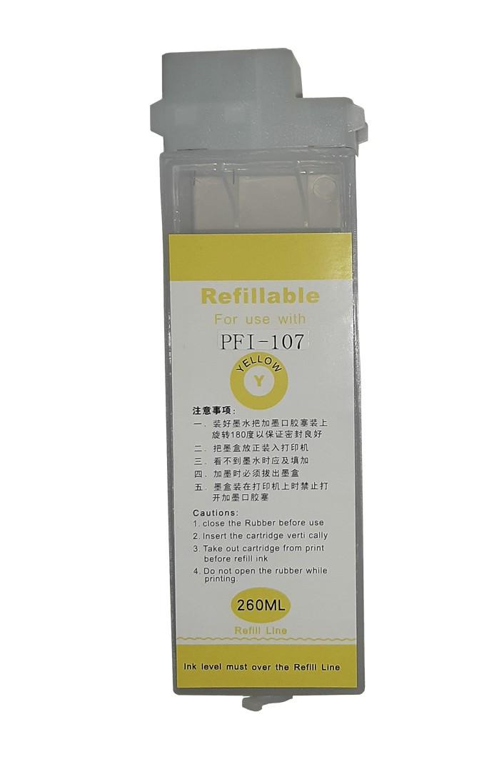 Перезаправляемый картридж Ocbestjet тип F4 для плоттеров Canon iPF670/iPF770 с чипом PFI-107 Yellow (260 мл)