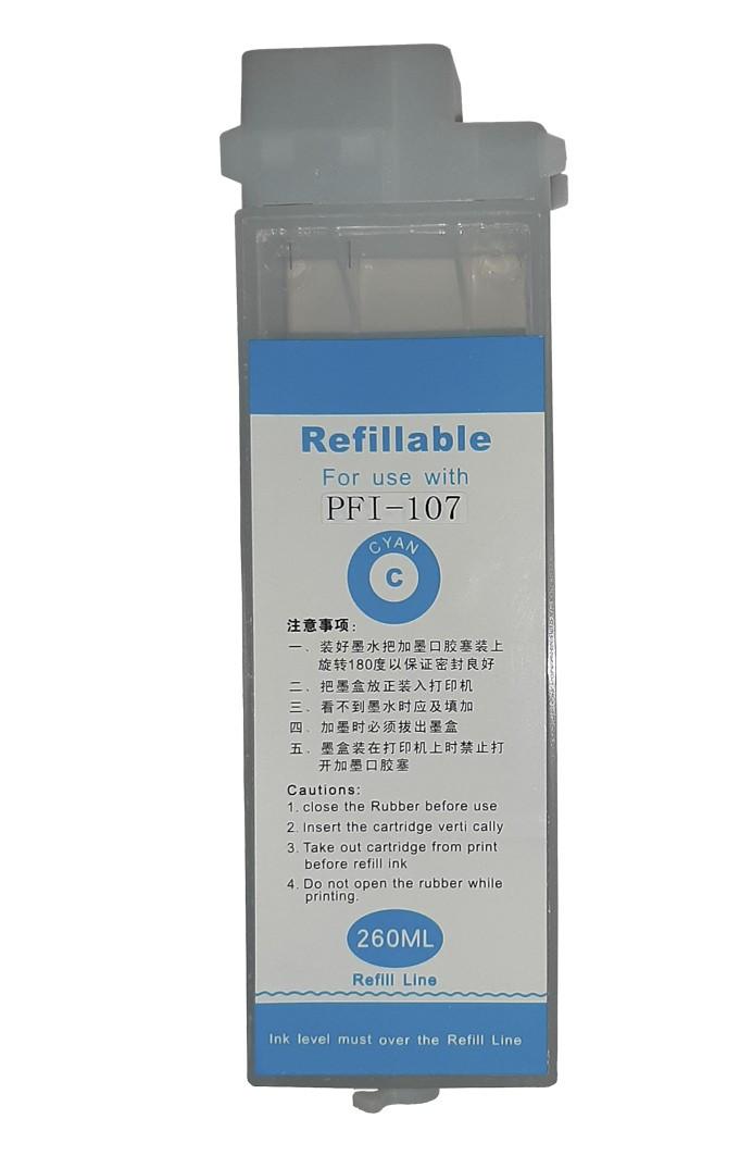 Перезаправляемый картридж Ocbestjet тип F4 для плоттеров Canon iPF605/iPF710 с чипом PFI-102 Cyan (260 мл)