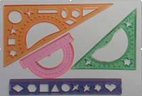 Набор геометрический (4 предмета 30*60*90, 15 см, линейка 20см), 5шт/упак. 97