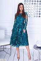 Платье вечернее с ажурной кружевной вышивкой