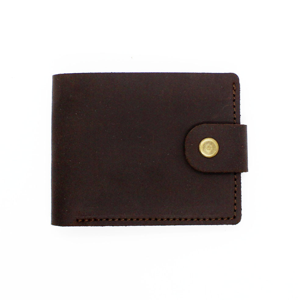 Кошелек кожаный мужской темно-коричневый с монетницей