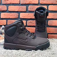 Мужские ботинки на меху Nike Air Lunarridge коричневые