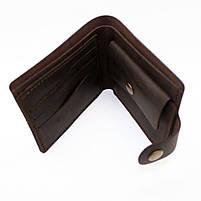 Кошелек кожаный мужской темно-коричневый с монетницей, фото 2
