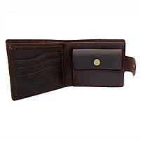 Кошелек кожаный мужской темно-коричневый с монетницей, фото 3